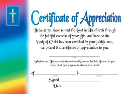 church certificate templates certificate of appreciation certificates church