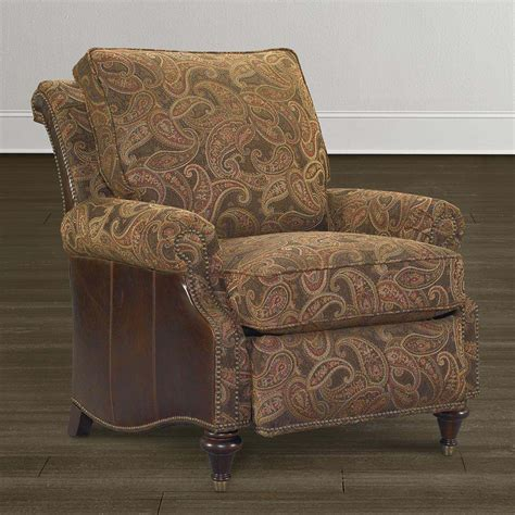 Recliner Accent Chair Brown Paisley Recliner With Panel Arms