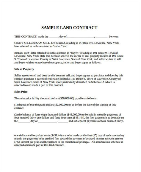 Agreement Letter Of Land 7 Land Contract Forms Free Sle Exle Format Free Premium Templates