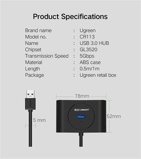 Ugreen 4 Port Usb 3 0 Hub ugreen cr113 usb 3 0 hub 4 port speed splitter