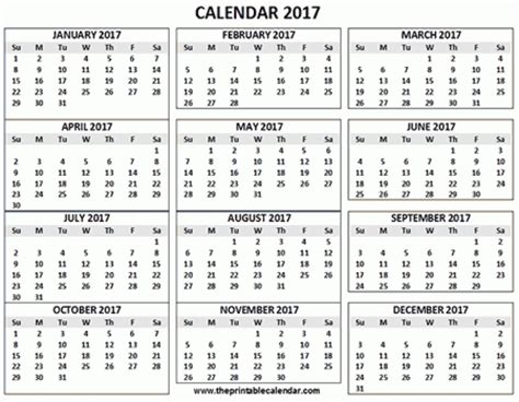 4 Calendars On One Page 2017 Calendar Printable 12 Months Calendar On One Page