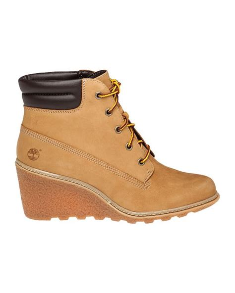 timberland wedge boots timberland amston leather wedge boots in beige wheat lyst