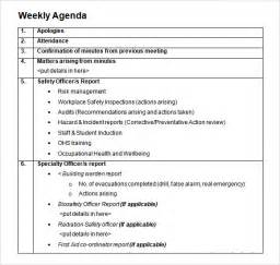 meeting agenda template doc weekly agenda sle 9 documents pdf word