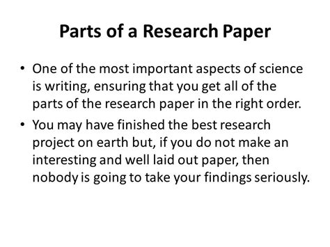 parts of research paper parts of research paper in order