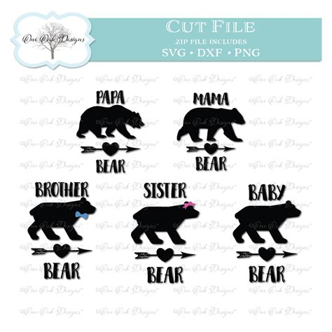 bear family svg dxf png file  cameo cricut cutting machines
