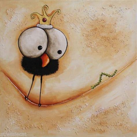 whimsical acrylic painting ideas original acrylic canvas painting whimsical bird folk