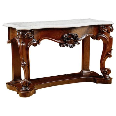 marble top console antique american console table in mahogany with white