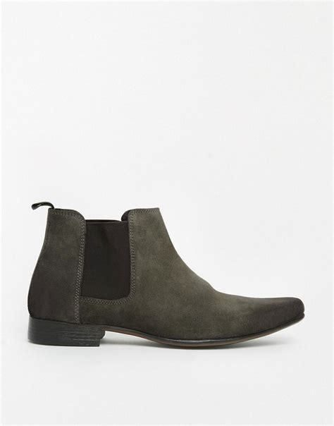 asos chelsea boots in suede in gray for lyst