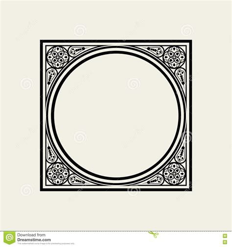 monograph template frame in style the circle inscribed in