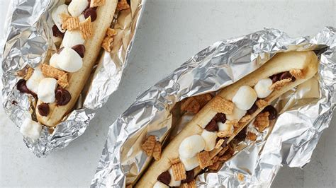 ate aluminum foil grilled chocolate banana foil pack recipe from tablespoon