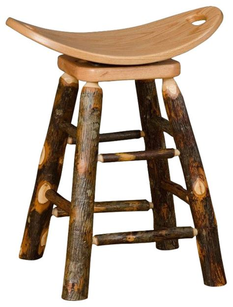 rustic bar stools swivel rustic hickory swivel saddle stool rustic bar stools