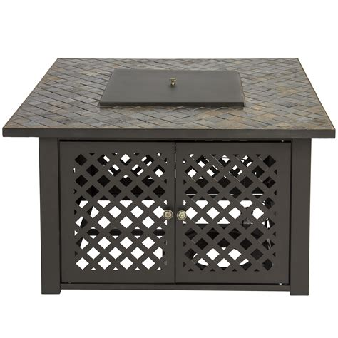 Gas Patio Heater Cover Gas Outdoor Pit Table Firebowl W Cover Slate Marble Garden Patio Heater Ebay