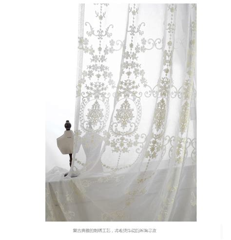 sheer cotton curtain panels 2015 new europea style white cotton embroidered sheer
