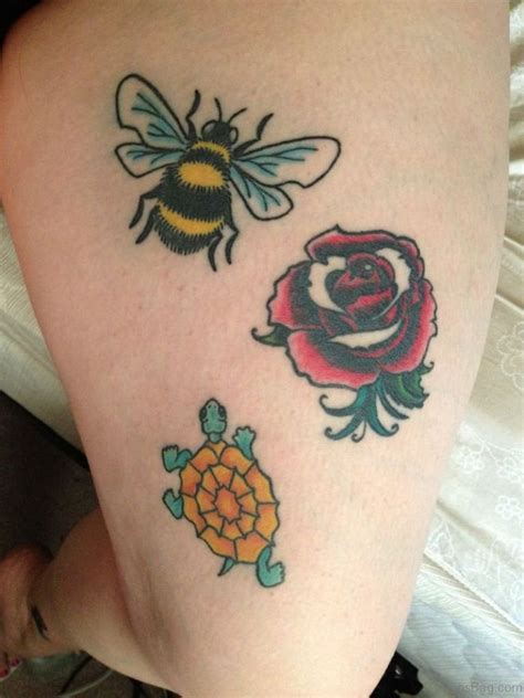 rose and bee tattoo 28 fabulous bee tattoos on thigh