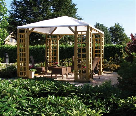 Canvas Garden Gazebo Wooden Pergola With Canvas Plastic Shhet Roof