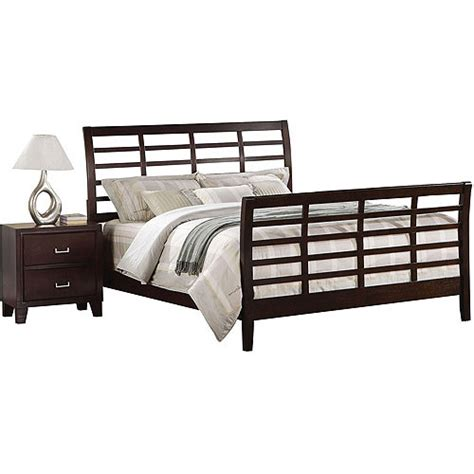 Bed And Nightstand Set Acme Sleigh Bed And Nightstand Set Cappuccino Walmart