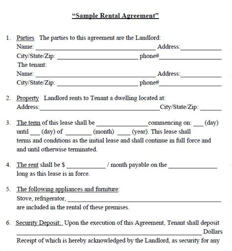 house rental application house lease agreement 7 free pdf doc download sle templates