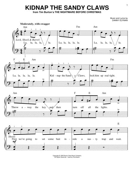 danny elfman worksheet nightmare before christmas alto sax sheet music free