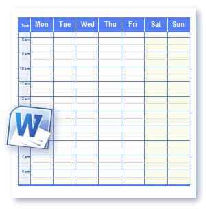 schedule template word printable schedule templates in word and open office format