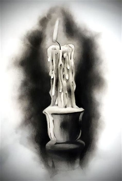 black and gray candle tattoo design