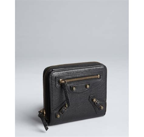 small wings wallet black lyst balenciaga black leather small zip wallet in black
