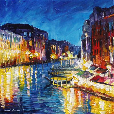 color painting venice in color palette knife painting on canvas by