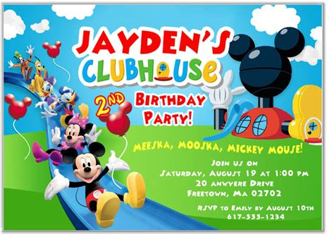 mickey mouse clubhouse birthday invitations disney