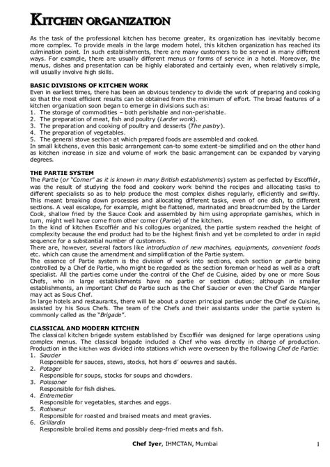 Kitchen Description Kitchen Organization Duties And Resposibilitis Of Various