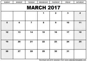 printable calendar templates march 2017 calendar template