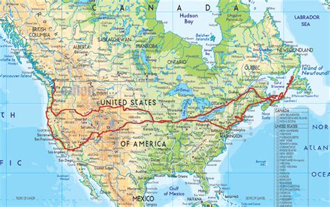 road map usa and canada physical map of usa and canada