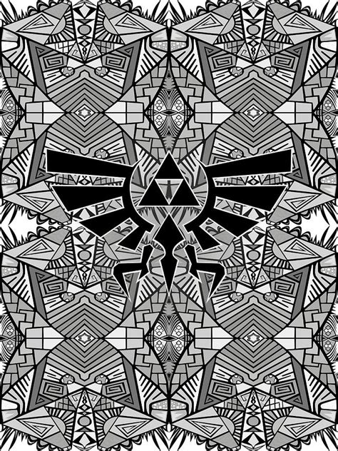 hylian royal crest legend  zelda greyscale pattern