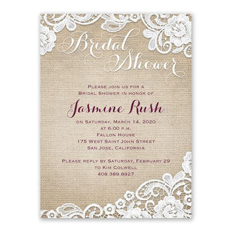 reasonable bridal shower invitations burlap and lace bridal shower invitation s bridal bargains