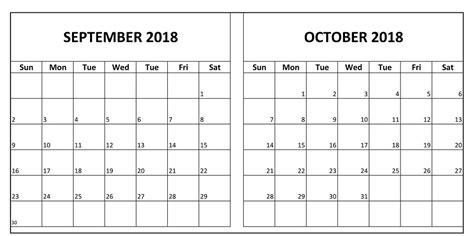 september october  printable calendar august