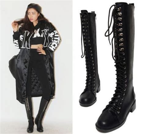 womens knee high lace up fashion combat boots