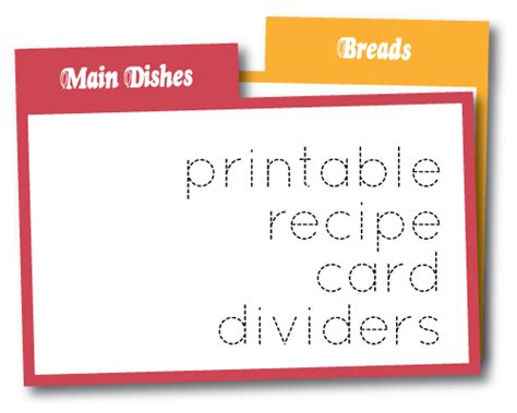 tabbed index card template organizing recipe card printables