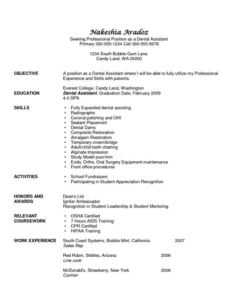 assistant resume objective sles dental assistant resume objectives resume ideas