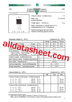transistor tip 121 datasheet tip121 datasheet pdf diotec semiconductor