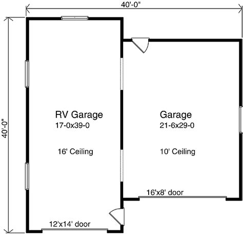 Rv Garage Door Sizes by Rv Garage Plan 2263sl Cad Available Narrow Lot Pdf