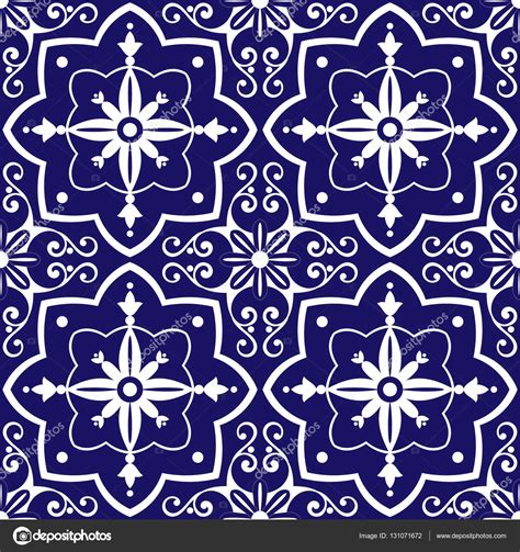 pattern tile illustrator tiles pattern vector with blue and white flowers ornaments