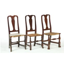 three chair bench three country queen anne side chairs