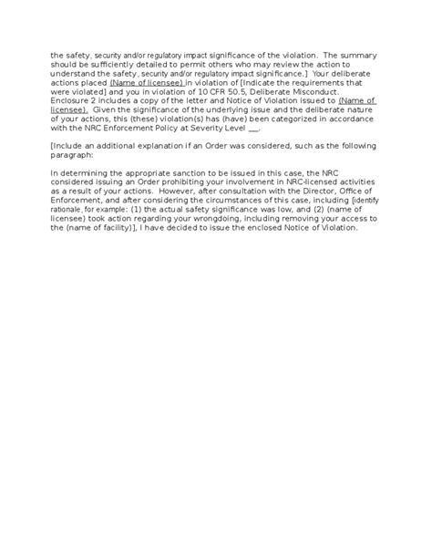 Cover Letter for Notice of Violation to Individual Free