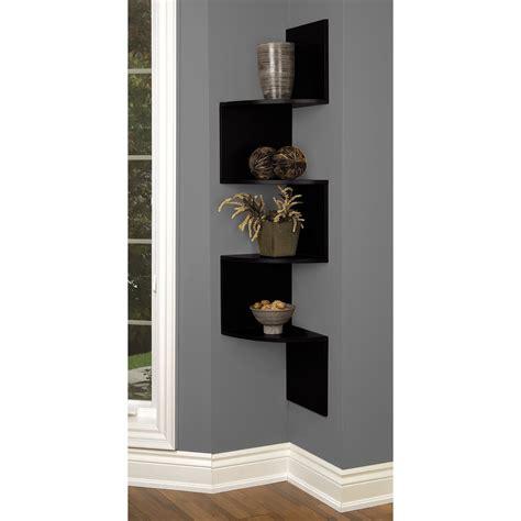 Light brown wooden triangle corner shelf wood grey stucco wall elegant homes showcase