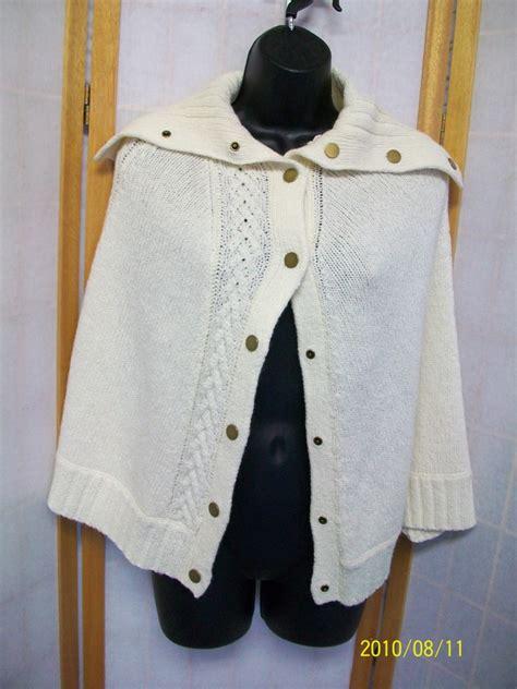 talbots cape cod talbots wool cape poncho cardigan sweater s m ebay