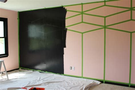painted wall black diy black and white feature wall