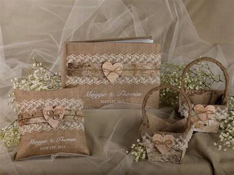 burlap natural birch bark wedding set guest book rustic guestbook shabby chic burlap ring