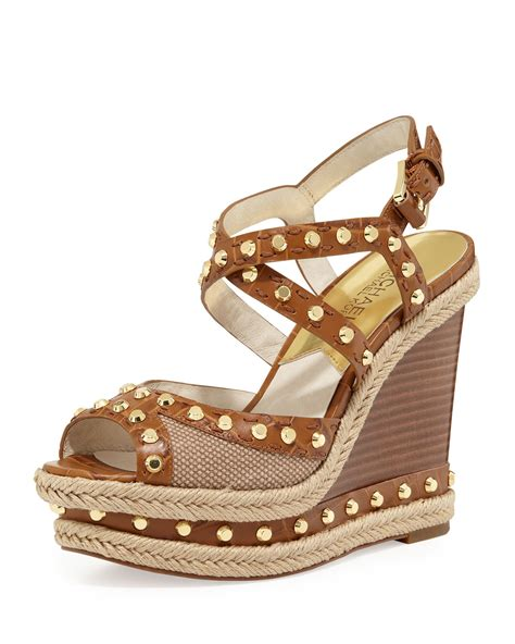 michael michael kors jade studded wedge sandal in brown