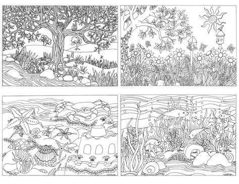 coloring pages of garden scene set of 4 assorted nature scenes coloring by triciagriffitharts