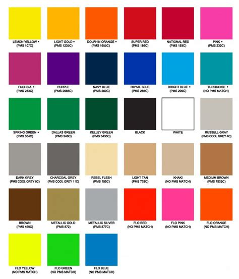 heat transfer ink colors color chart swatches