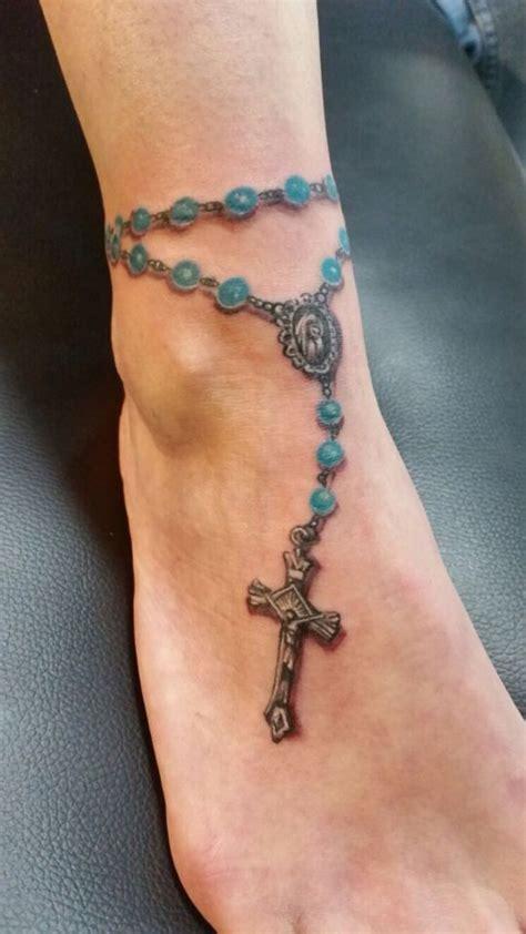 rosario tattoo rozenkrans enkel tattoos anklet tattoos