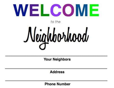 Welcome To The Neighborhood Card Template by Welcome To The Neighborhood Baggie
